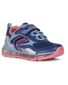 Geox Android Navy Pink Lights Trainers
