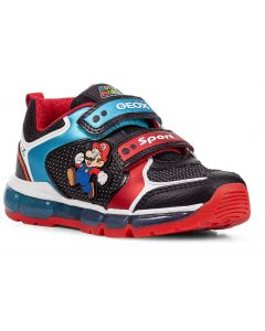 Geox Android Black Red Mario Lights Trainers