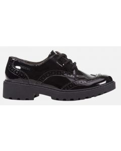 Geox Casey Lace Black Patent School Shoes