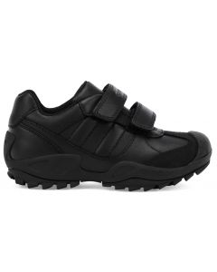 Geox Savage J841VB Black School Shoes with Nubuck