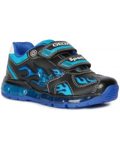 Geox Android Black Lt Blue Lights Trainers