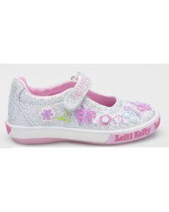 Lelli Kelly Butterfly Silver Glitter Canvas Shoes