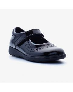 Term Vega Black Patent School Shoes