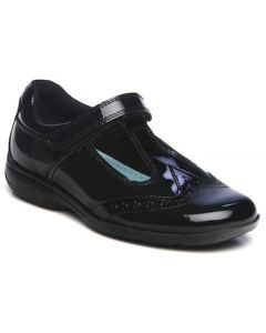 Term Janine T-bar Black Patent School Shoes