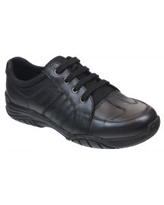 Term Max Black Leather School Shoes