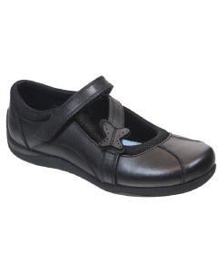 Term Zara Black Leather School Shoes